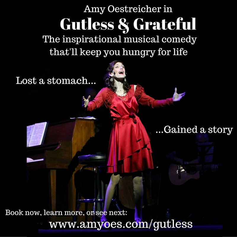 "Amy Oestricher's one-woman-show ""Gutless and Grateful"""