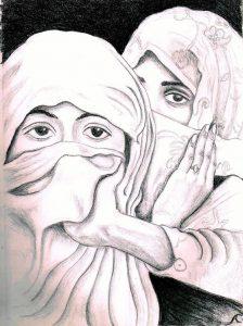 women in cloaks by Alma Carel